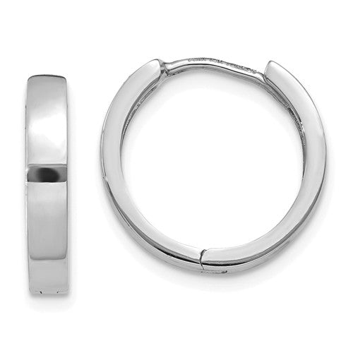 14k White Gold Classic Huggie Hinged Hoop Earrings 14mm x 14mm x 3mm