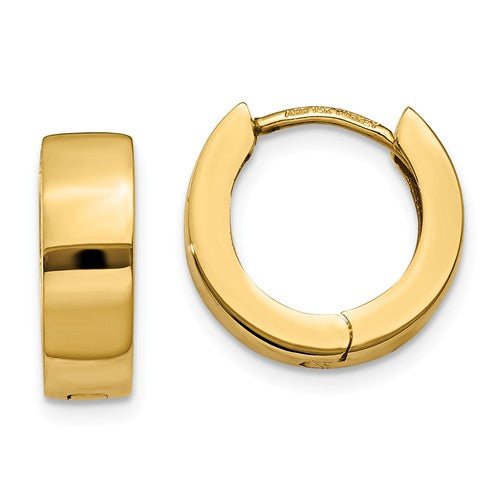 14k Yellow Gold Classic Huggie Hinged Hoop Earrings 13mm x 13mm x 4mm