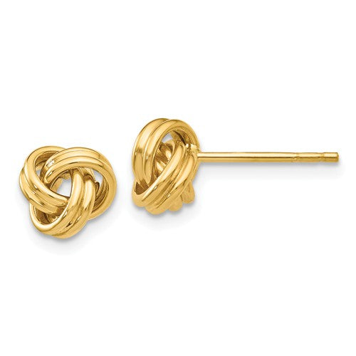 14k Yellow Gold 7mm Classic Love Knot Post Earrings