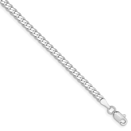 14K White Gold 2.9mm Beveled Curb Link Bracelet Anklet Choker Necklace Pendant Chain