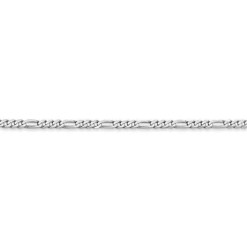 14K White Gold 2.25mm Figaro Bracelet Anklet Choker Necklace Pendant Chain