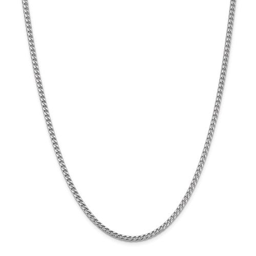 14K White Gold 3mm Franco Bracelet Anklet Choker Necklace Pendant Chain