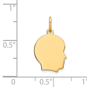 14k Yellow Gold 11mm Boy Head Facing Right Disc Pendant Charm Engraved Personalized - BringJoyCollection