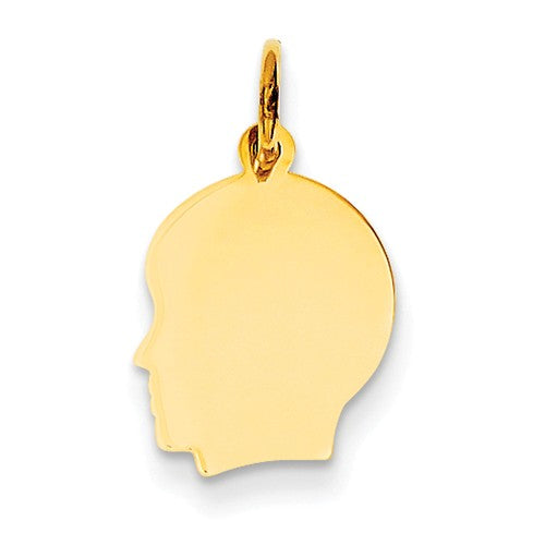 14k Yellow Gold 11mm Boy Head Silhouette Disc Pendant Charm Engraved Personalized - BringJoyCollection