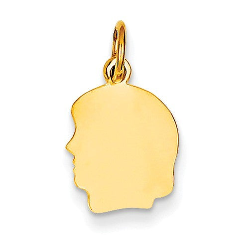 14k Yellow Gold 10mm Girl Head Silhouette Disc Pendant Charm Engraved Personalized - BringJoyCollection