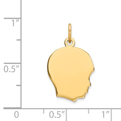 14k Yellow Gold 13mm Boy Head Facing Right Disc Pendant Charm Engraved Personalized - BringJoyCollection