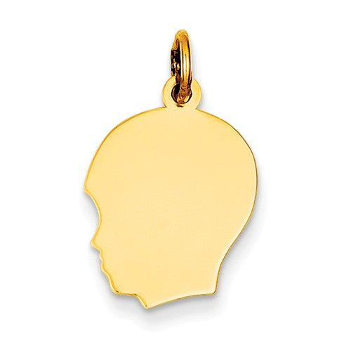 14k Yellow Gold 13mm Boy Head Silhouette Disc Pendant Charm Engraved Personalized - BringJoyCollection