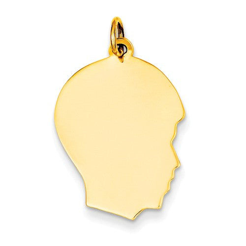 14k Yellow Gold 17mm Boy Head Facing Right Disc Pendant Charm Engraved Personalized - BringJoyCollection