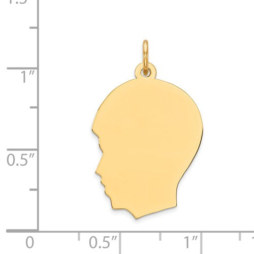 14k Yellow Gold 17mm Boy Head Silhouette Disc Pendant Charm Engraved Personalized - BringJoyCollection