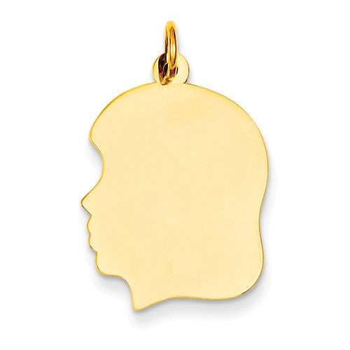 14k Yellow Gold 17mm Girl Head Silhouette Disc Pendant Charm Engraved Personalized - BringJoyCollection
