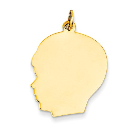14k Yellow Gold 20mm Boy Head Silhouette Disc Pendant Charm Engraved Personalized - BringJoyCollection