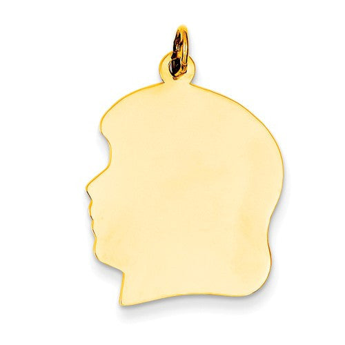 14k Yellow Gold 20mm Girl Head Silhouette Disc Pendant Charm Engraved Personalized - BringJoyCollection