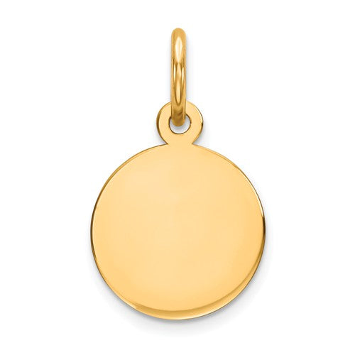 10k Yellow Gold 9mm Round Circle Disc Pendant Charm Personalized Monogram Engraved