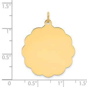 14K Yellow Gold 26mm Scalloped Disc Pendant Charm Personalized Engraved Monogram