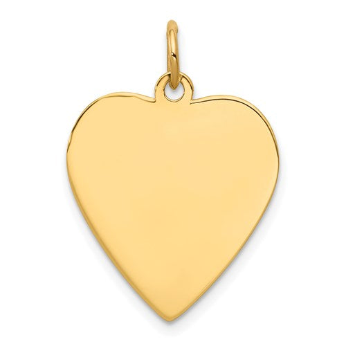 14k Yellow Gold 17mm Heart Disc Pendant Charm Personalized Monogram Engraved