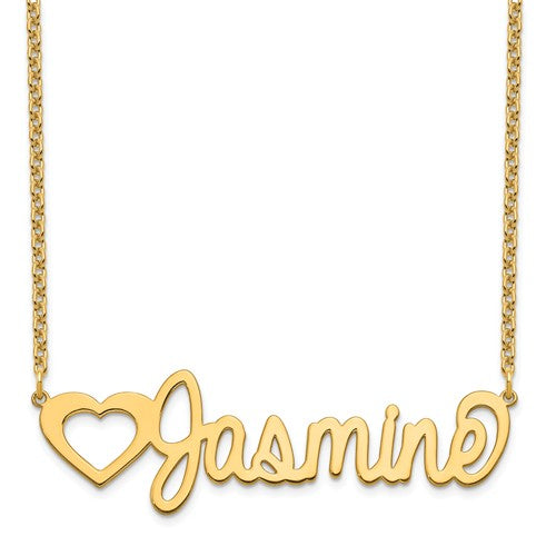 14k 10k Gold Sterling Silver Large Nameplate Necklace Personalized Customized