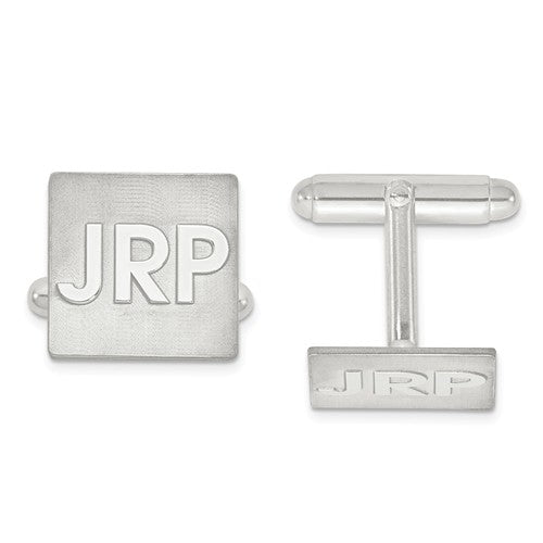 14k Yellow 14k White Gold Sterling Silver Square Cufflinks Cuff Links Personalized Monogram