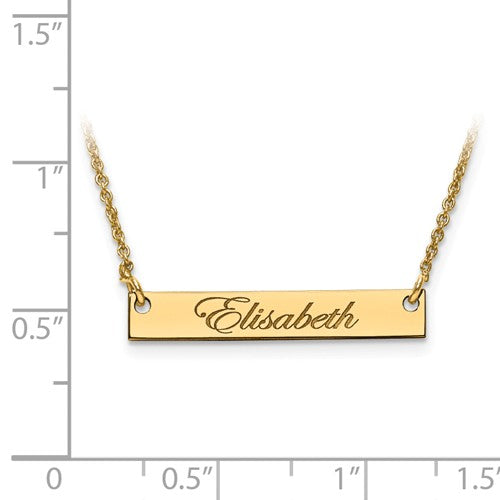 14k 10k Gold Sterling Silver Small Name Bar Nameplate Necklace Personalized - BringJoyCollection