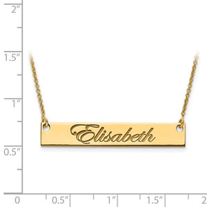 14k 10k Gold Sterling Silver Medium Name Bar Nameplate Necklace Personalized - BringJoyCollection
