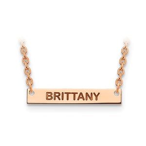 14k 10k Gold Sterling Silver Small Block Name Bar Nameplate Necklace Personalized - BringJoyCollection