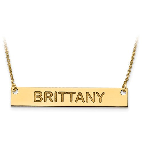 14k 10k Gold Sterling Silver Medium Block Name Bar Nameplate Necklace Personalized - BringJoyCollection