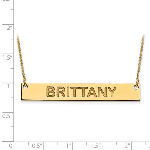 14k 10k Gold Sterling Silver Large Block Name Bar Nameplate Necklace Personalized - BringJoyCollection