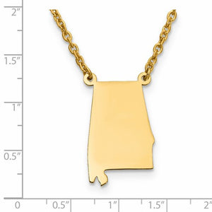 14K Gold or Sterling Silver Alabama  AL State Necklace Personalized Monogram - BringJoyCollection