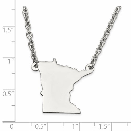 14K Gold or Sterling Silver Minnesota MN State Name Necklace Personalized Monogram - BringJoyCollection