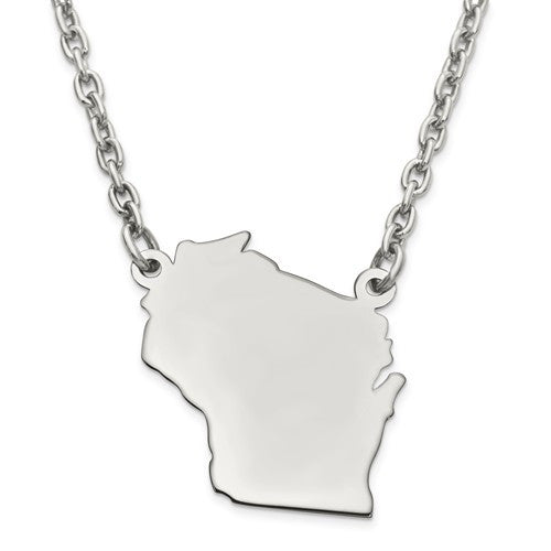 14K Gold or Sterling Silver Wisconsin WI State Name Necklace Personalized Monogram - BringJoyCollection