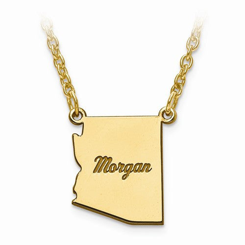 14K Gold or Sterling Silver Arizona AZ State Necklace Personalized Monogram - BringJoyCollection