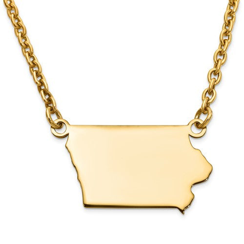 14K Gold or Sterling Silver Iowa IA State Name Necklace Personalized Monogram - BringJoyCollection