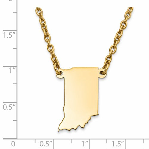 14K Gold or Sterling Silver Indiana IN State Name Necklace Personalized Monogram - BringJoyCollection