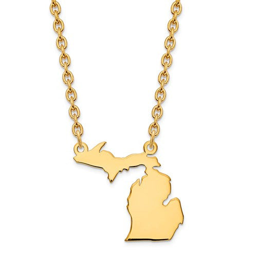 14K Gold or Sterling Silver Michigan MI State Name Necklace Personalized Monogram - BringJoyCollection