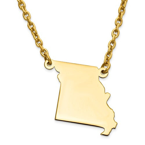 14K Gold or Sterling Silver Missouri MO State Name Necklace Personalized Monogram - BringJoyCollection