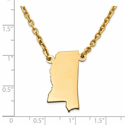 14K Gold or Sterling Silver Mississippi MS State Name Necklace Personalized Monogram - BringJoyCollection