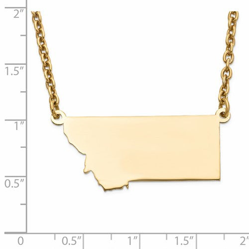 14K Gold or Sterling Silver Montana MT State Name Necklace Personalized Monogram - BringJoyCollection