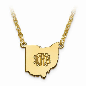 14K Gold or Sterling Silver South Dakota SD State Name Necklace Personalized Monogram - BringJoyCollection