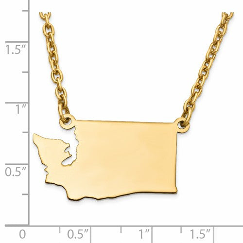 14K Gold or Sterling Silver Washington WA State Name Necklace Personalized Monogram - BringJoyCollection