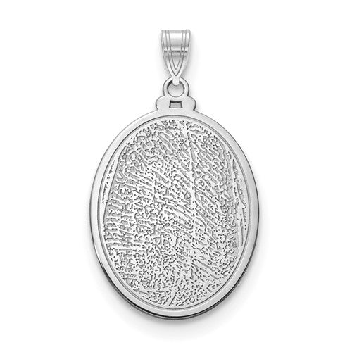 14k 10k Gold Sterling Silver Fingerprint Personalized 21mm Large Oval Pendant Charm