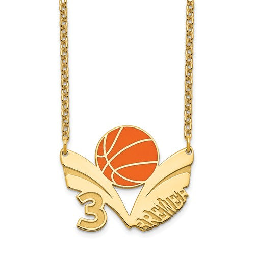 14k 10k Gold Sterling Silver Basketball Personalized Name Number Necklace
