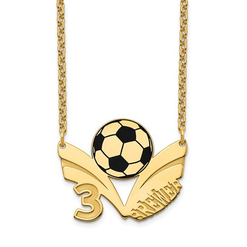 14k 10k Gold Sterling Silver Soccer Ball Personalized Name Number Necklace