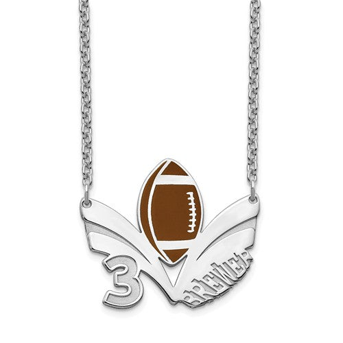 14k 10k Gold Sterling Silver Football Personalized Name Number Necklace