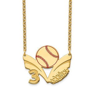 14k 10k Gold Sterling Silver Baseball Personalized Name Number Necklace
