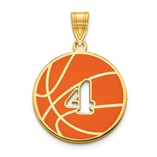 14k 10k Gold Sterling Silver Basketball Personalized Engraved Pendant Charm