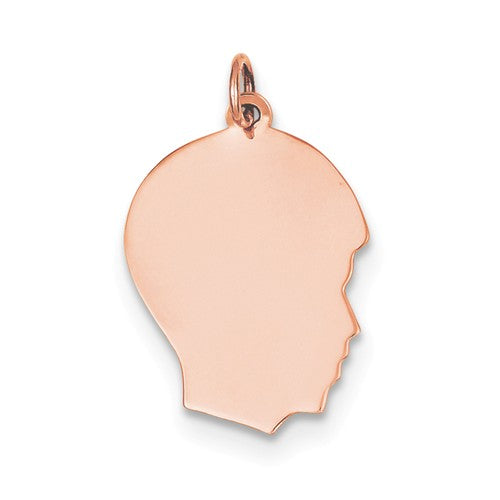 14k Rose Gold 17mm Boy Head Facing Right Disc Pendant Charm Engraved Personalized - BringJoyCollection