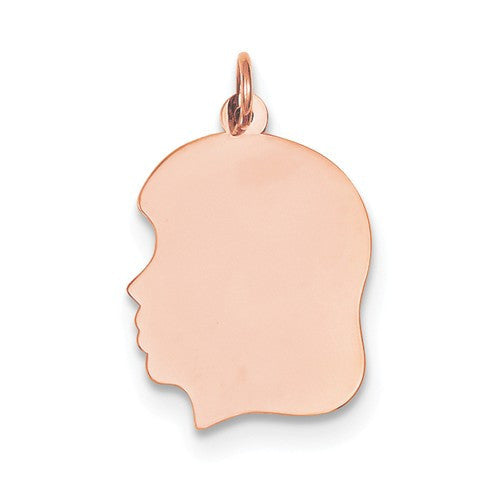 14k Rose Gold 17mm Girl Head Silhouette Disc Pendant Charm Engraved Personalized - BringJoyCollection