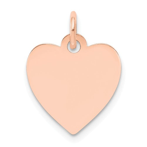 14k Rose Gold 13mm Heart Disc Pendant Charm Personalized Monogram Engraved