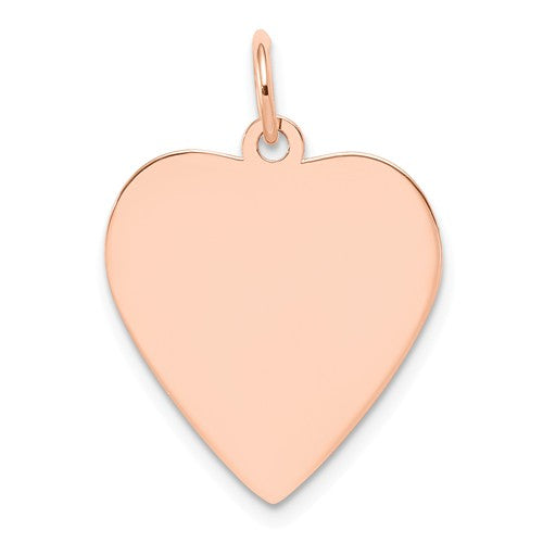 14k Rose Gold 17mm Heart Disc Pendant Charm Personalized Monogram Engraved