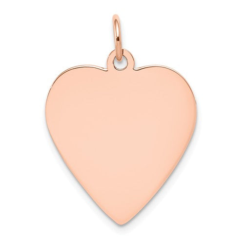 14k Rose Gold 18mm Heart Disc Pendant Charm Personalized Monogram Engraved