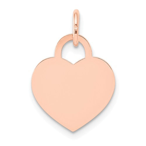14k Rose Gold 15mm Heart Disc Pendant Charm Personalized Monogram Engraved
